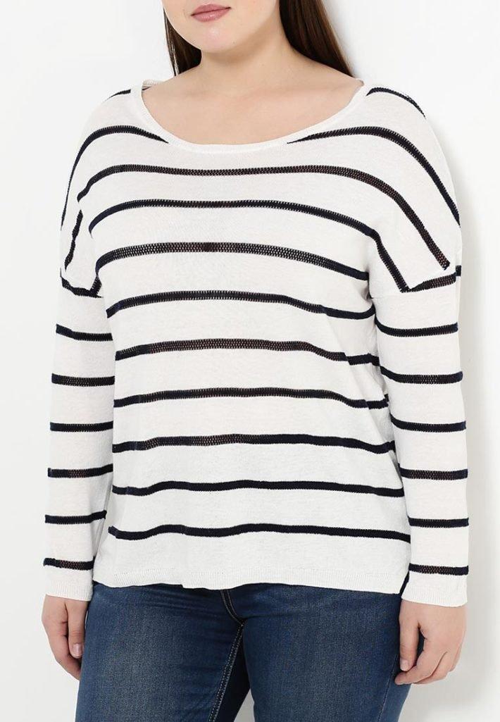 свитер для полных полосатая