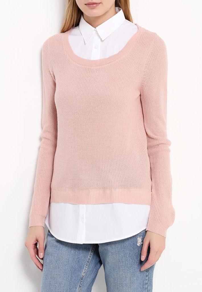 свитер для полных розовая