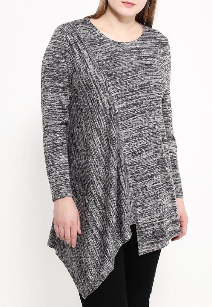 свитер для полных серая