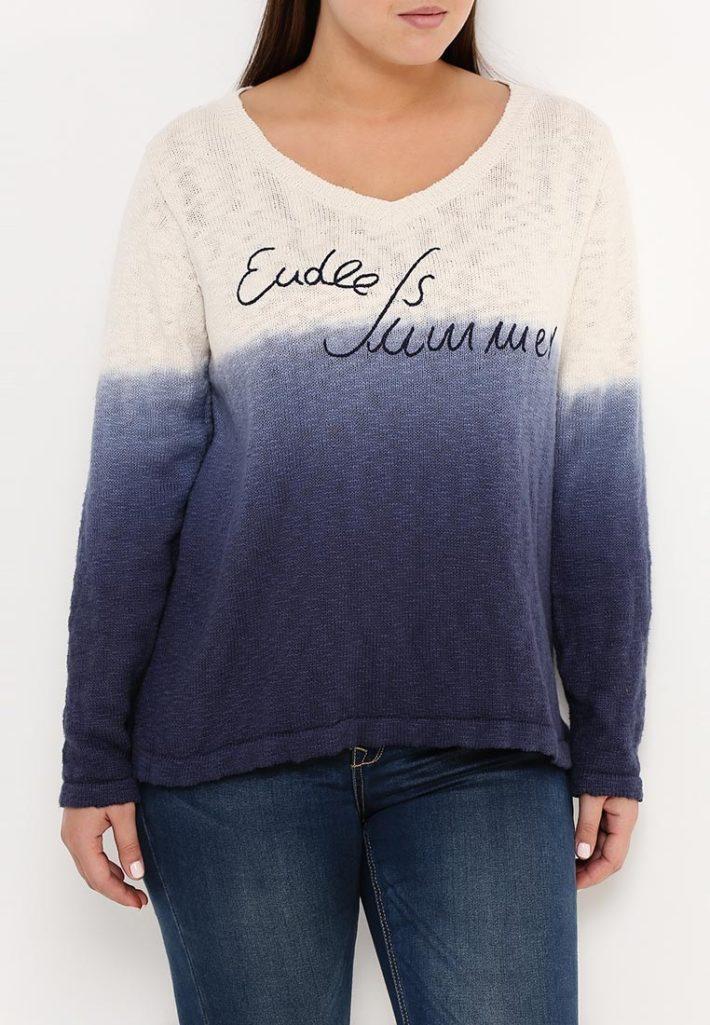 свитер для полных двухцветная