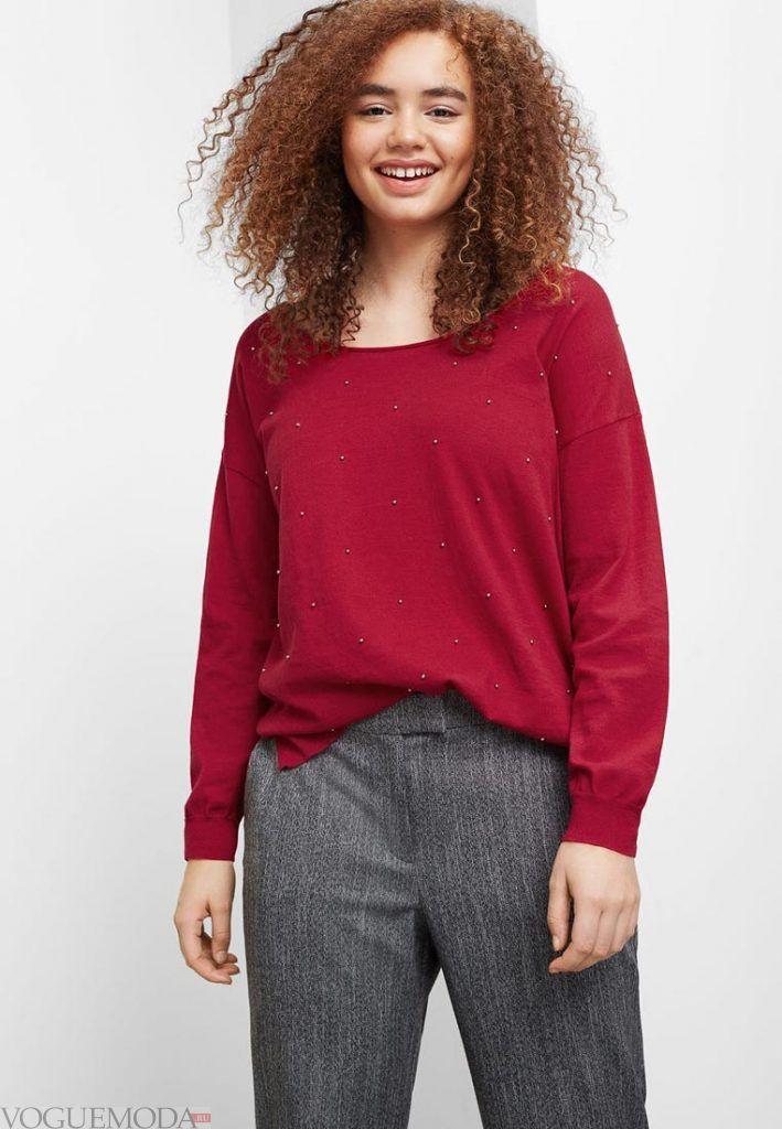 свитер для полных бордо