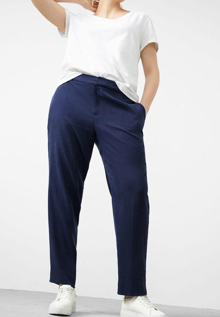 брюки для полных синие