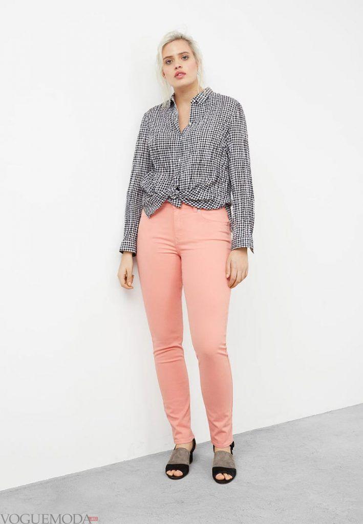 брюки для полных розовые