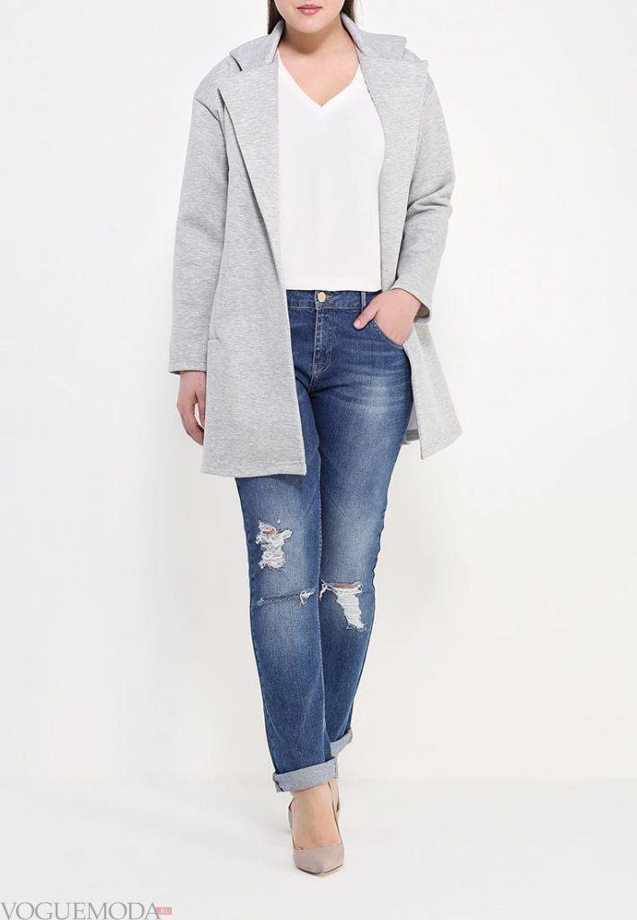 пальто для полных джинсовые