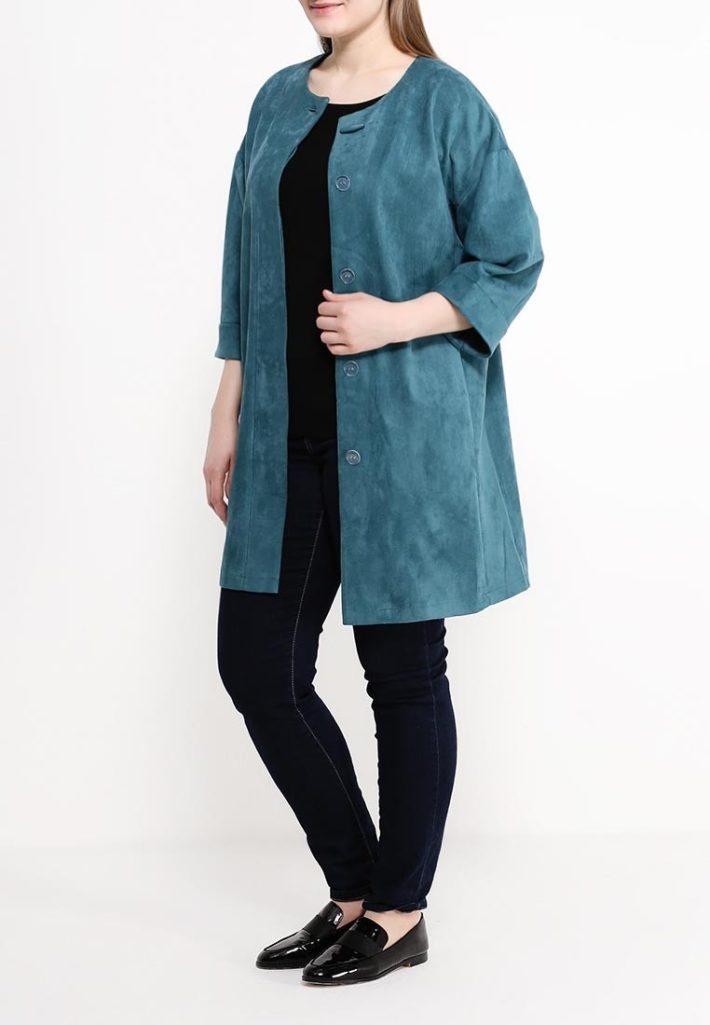 пальто для полных без воротника