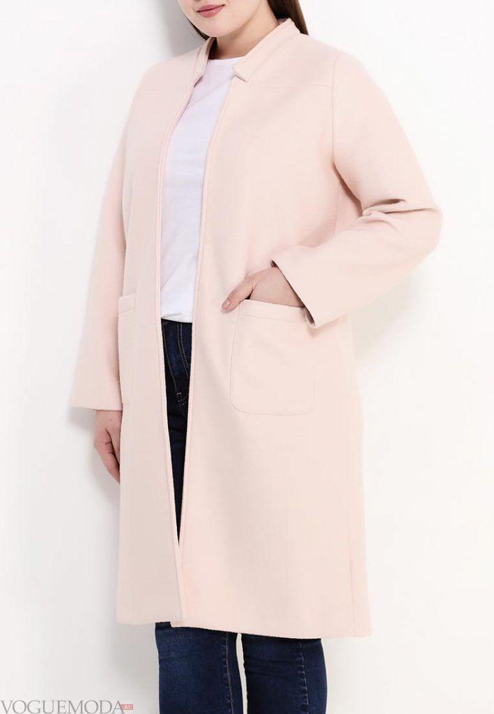 пальто для полных розовое