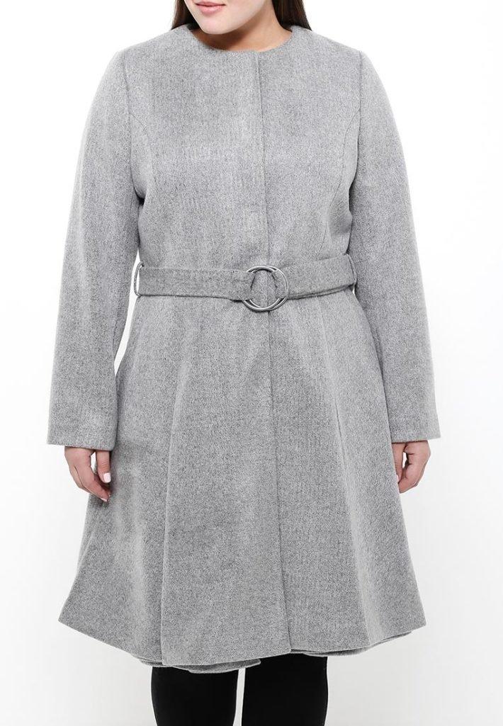 пальто для полных с поясом