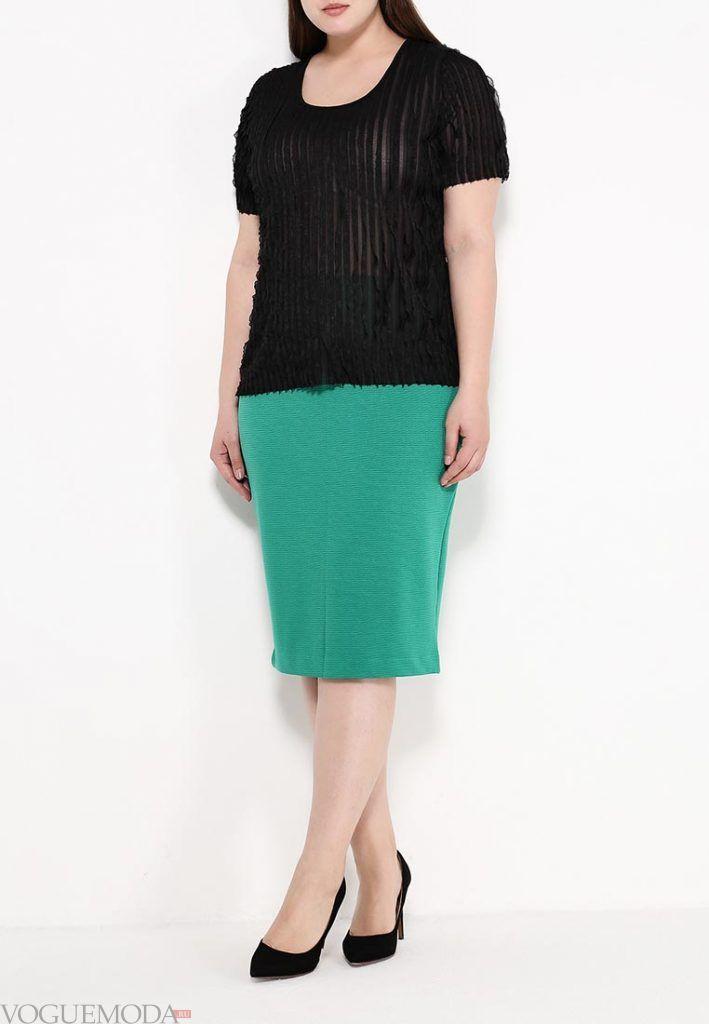 юбка для полных зеленая