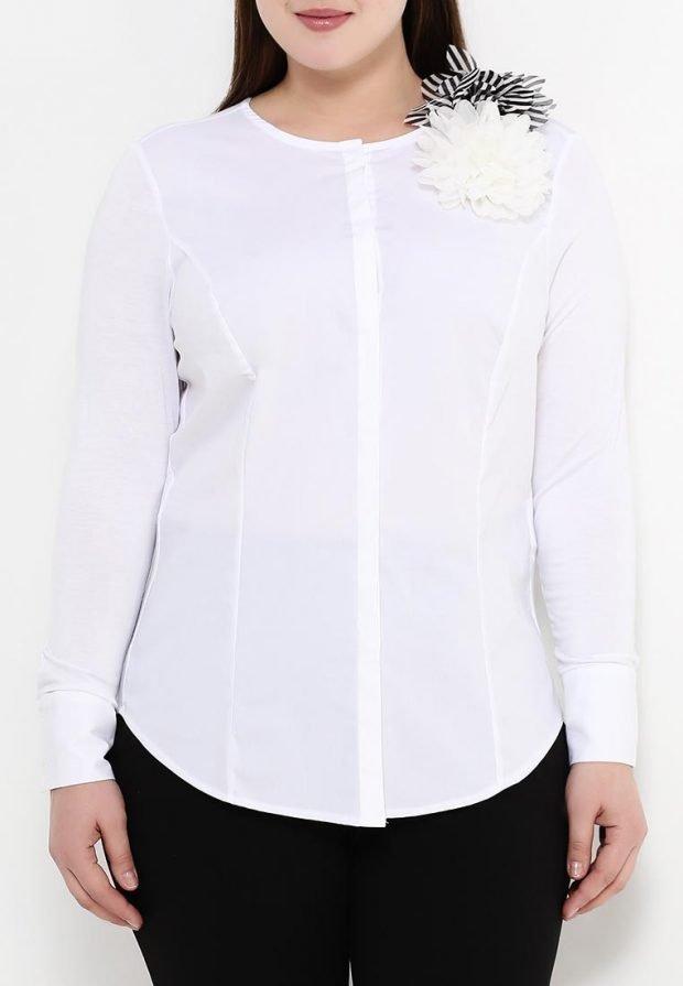 блузка для полных белая