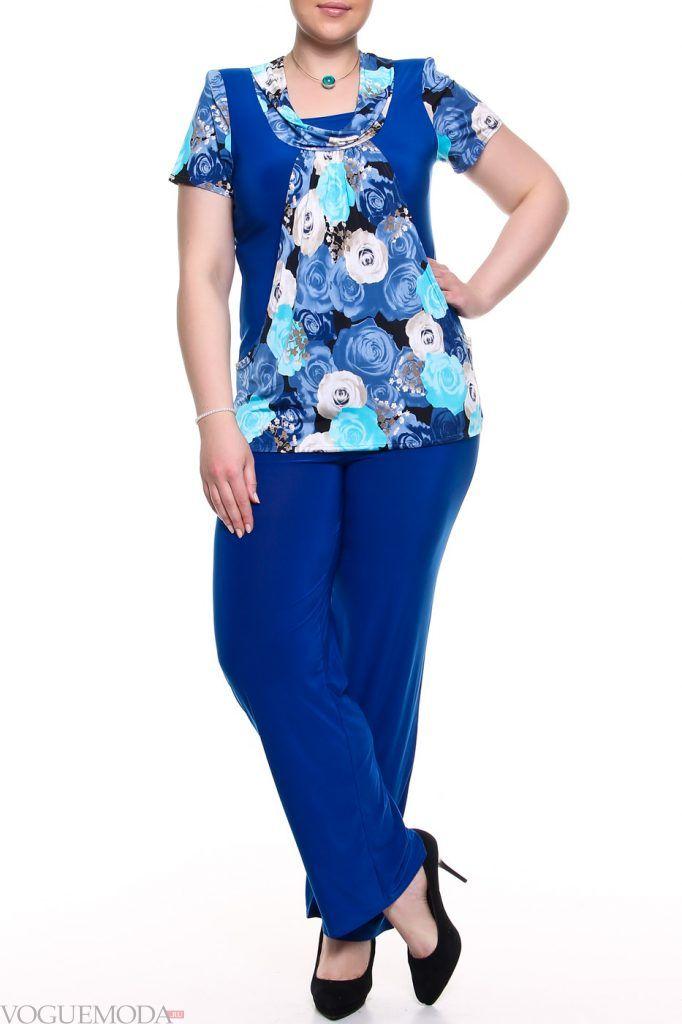 брючный костюм для полных синий