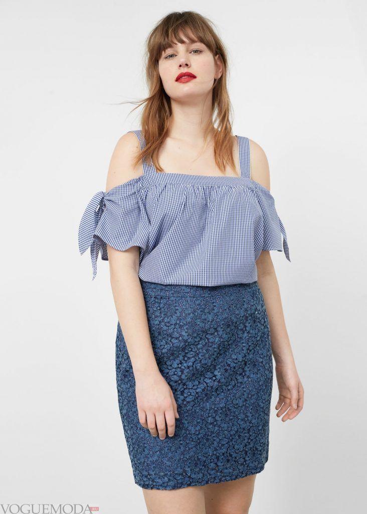 юбка для полных синяя