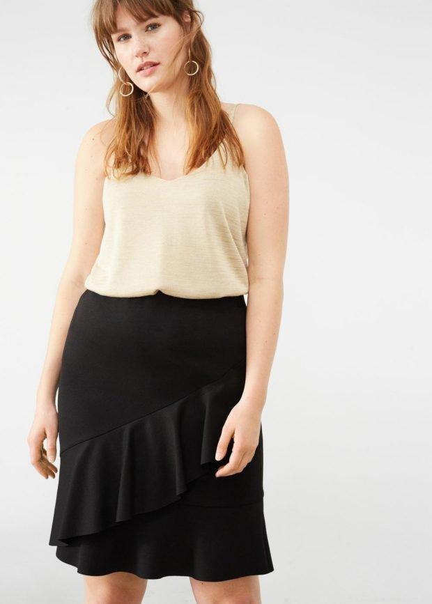 юбка для полных черная
