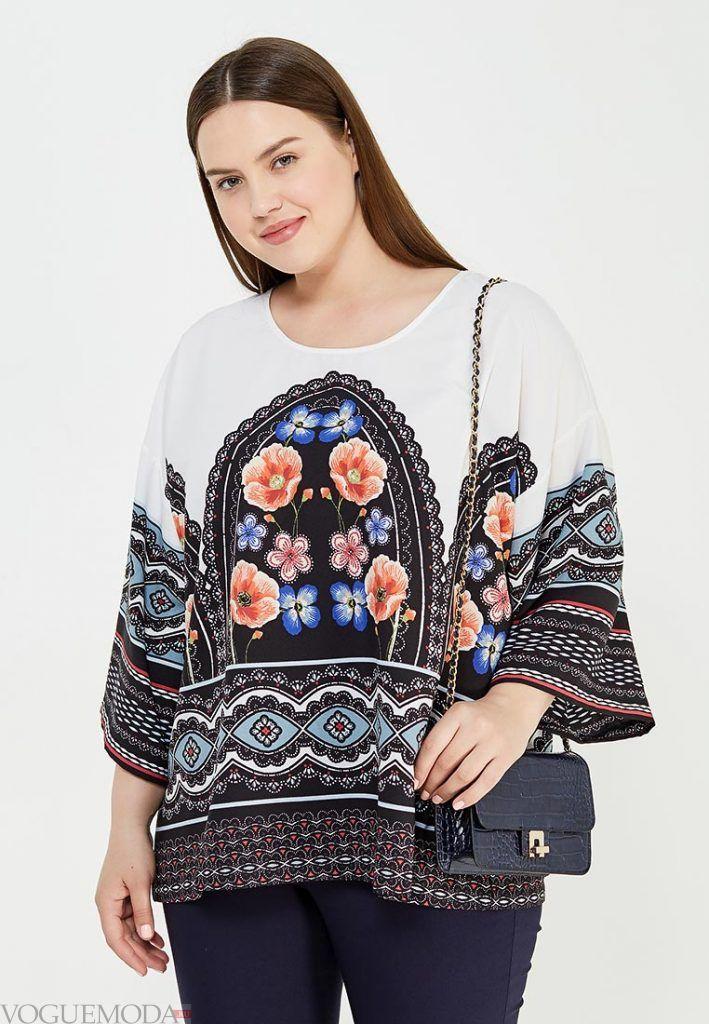 блузка для полных с орнаментом
