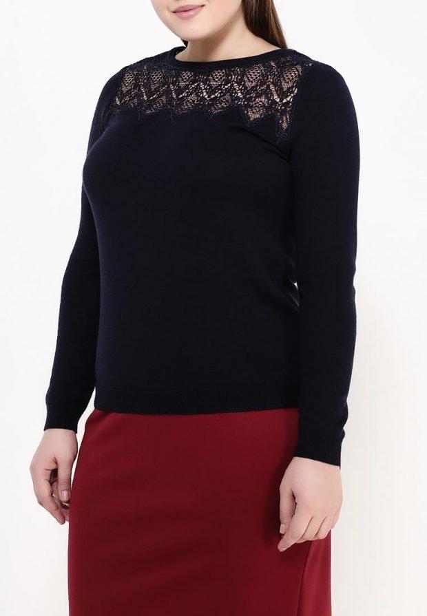 свитер для полных черный