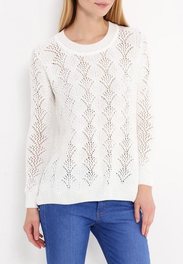 свитер для полных белый