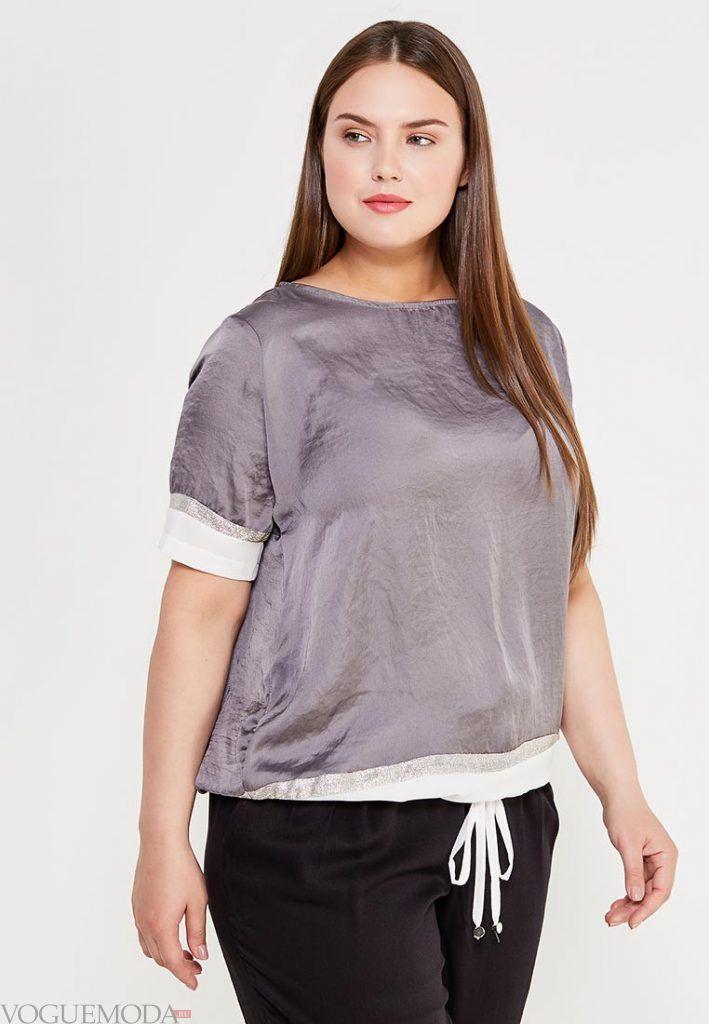 блузка для полных серая