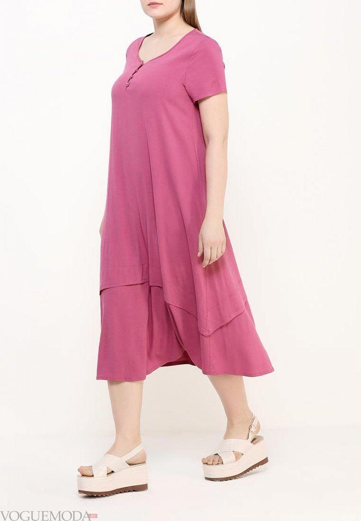 платье для полных розовое