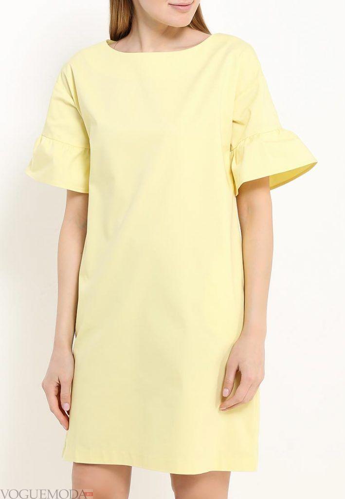 платье для полных желтое