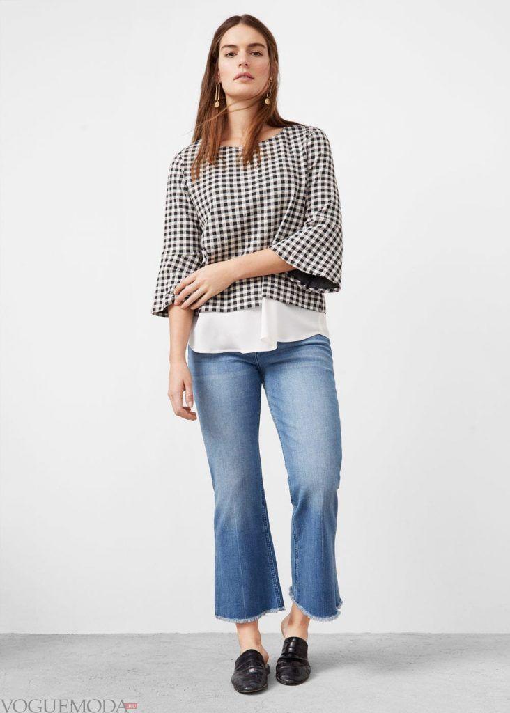 лук для полных с джинсами