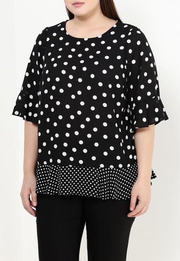 блузка для полных в горошек