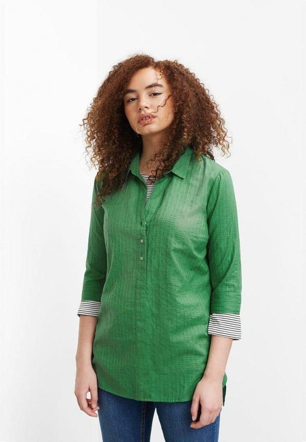 мода для полных рубашка