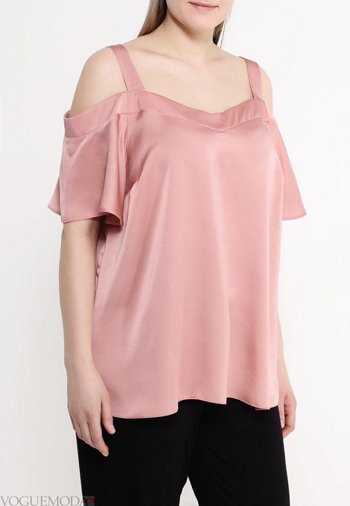 блузка для полных розовая