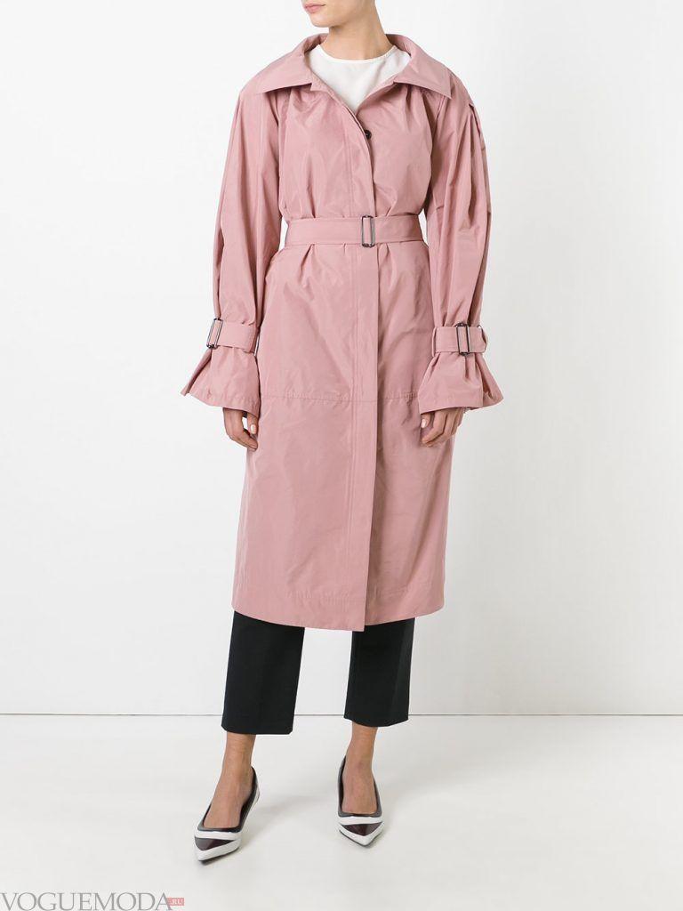 модный женский двубортный розовый