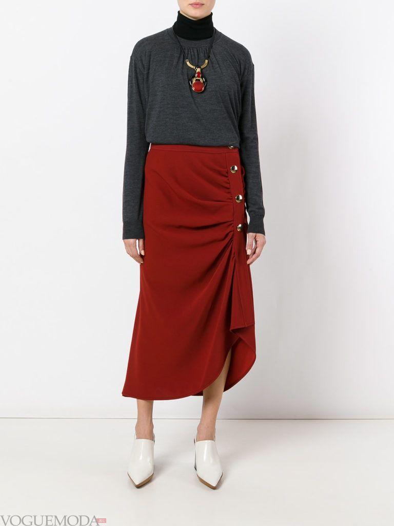 модная юбка бордо