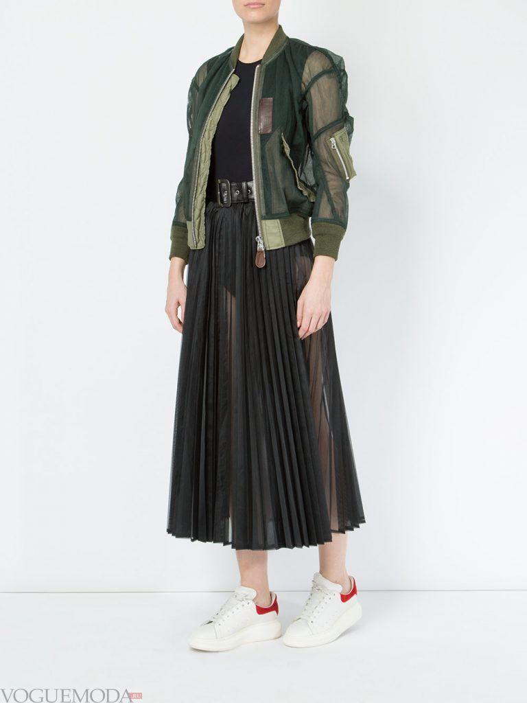 плиссированная юбка прозрачная