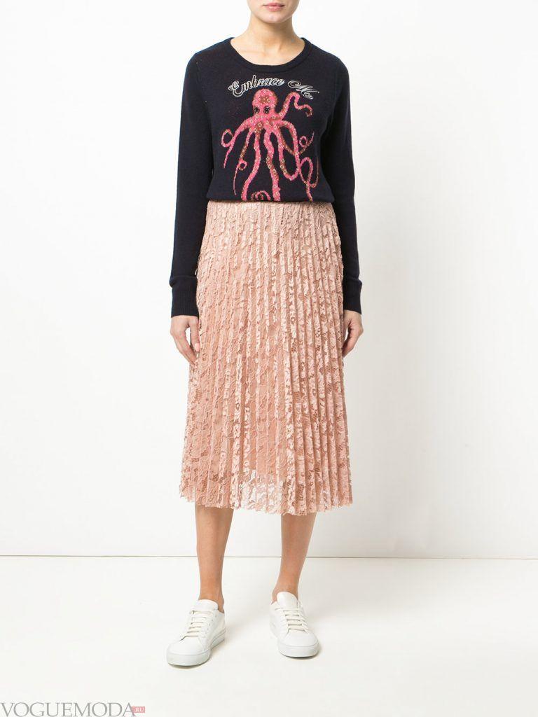 плиссированная юбка розовая