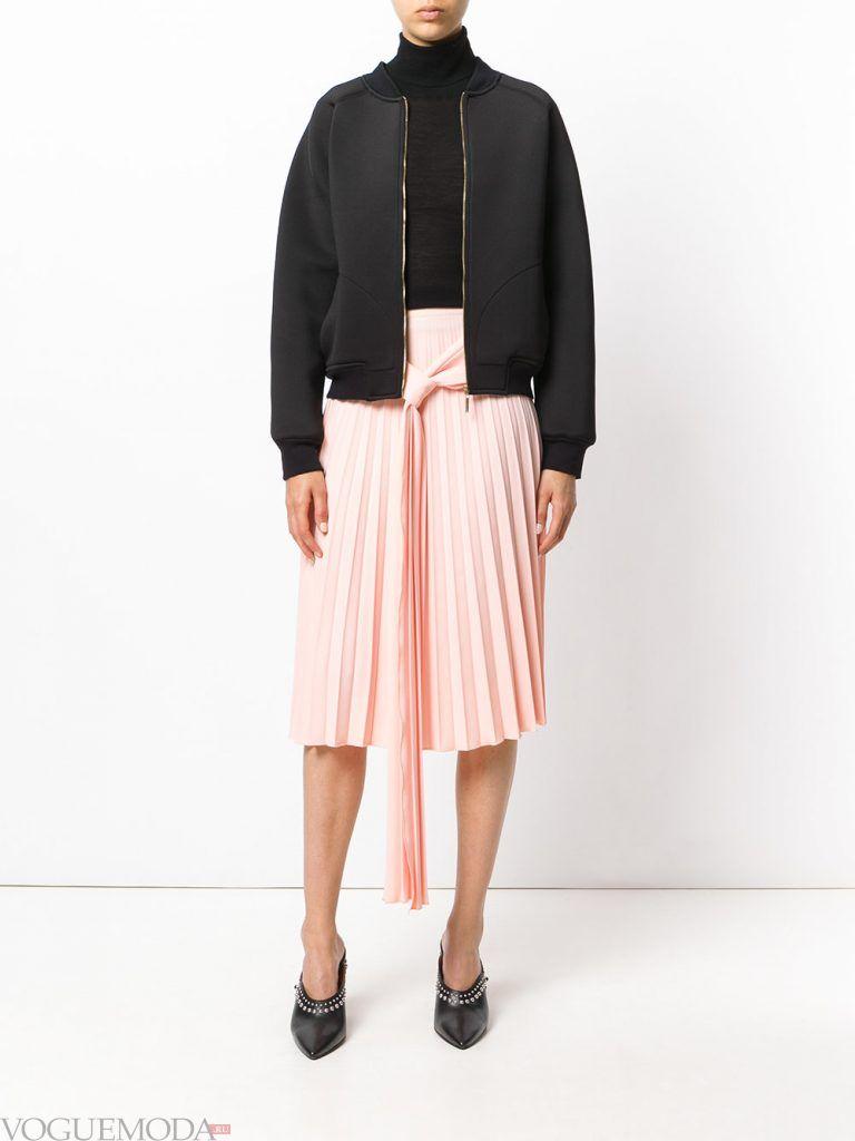 плиссированная юбка с поясом
