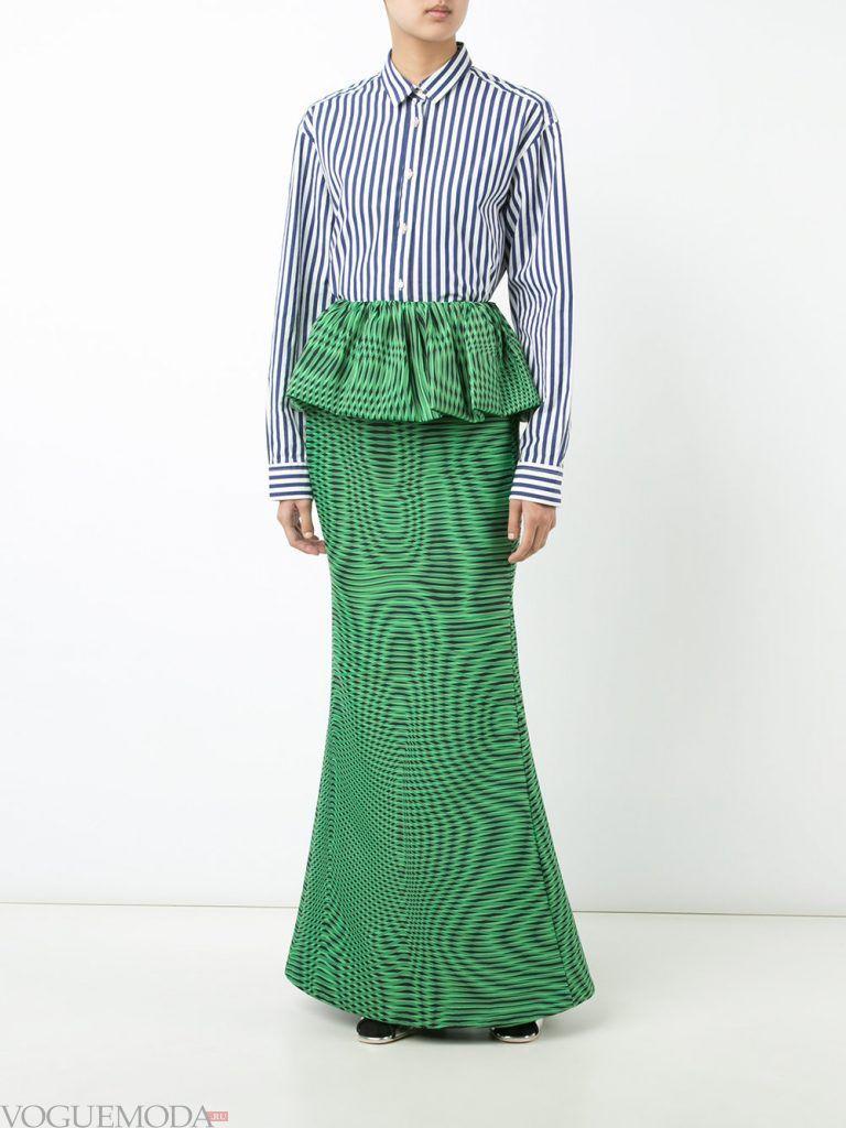 юбка макси с баской
