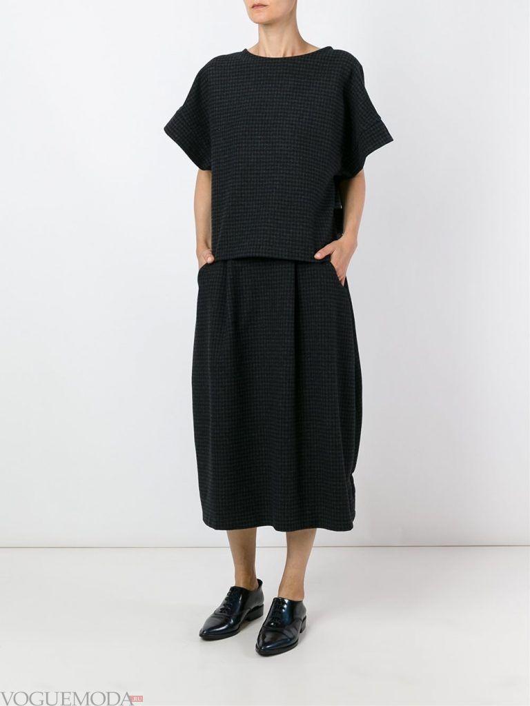 шерстяная юбка темная