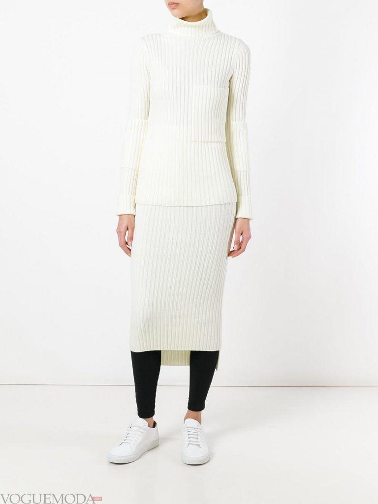 шерстяная юбка белая