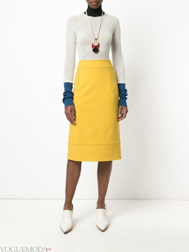 юбка карандаш желтая