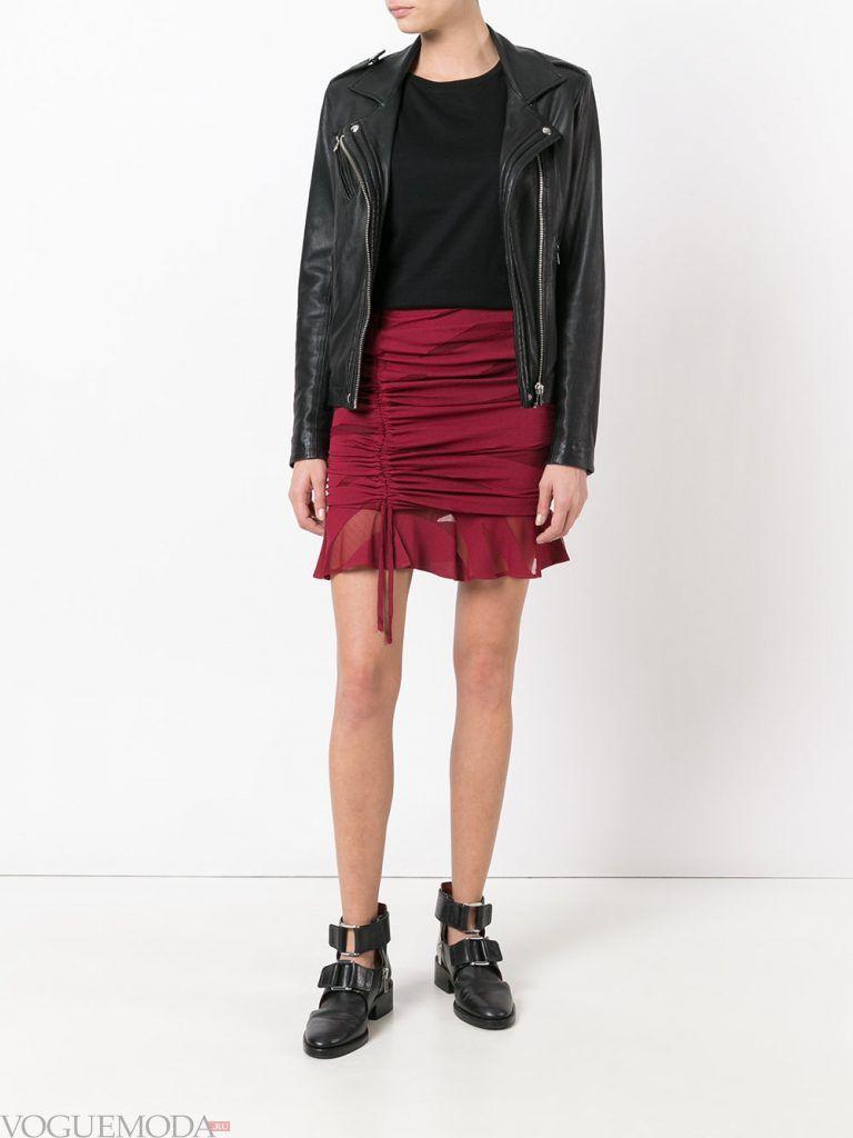 мини юбка бордо