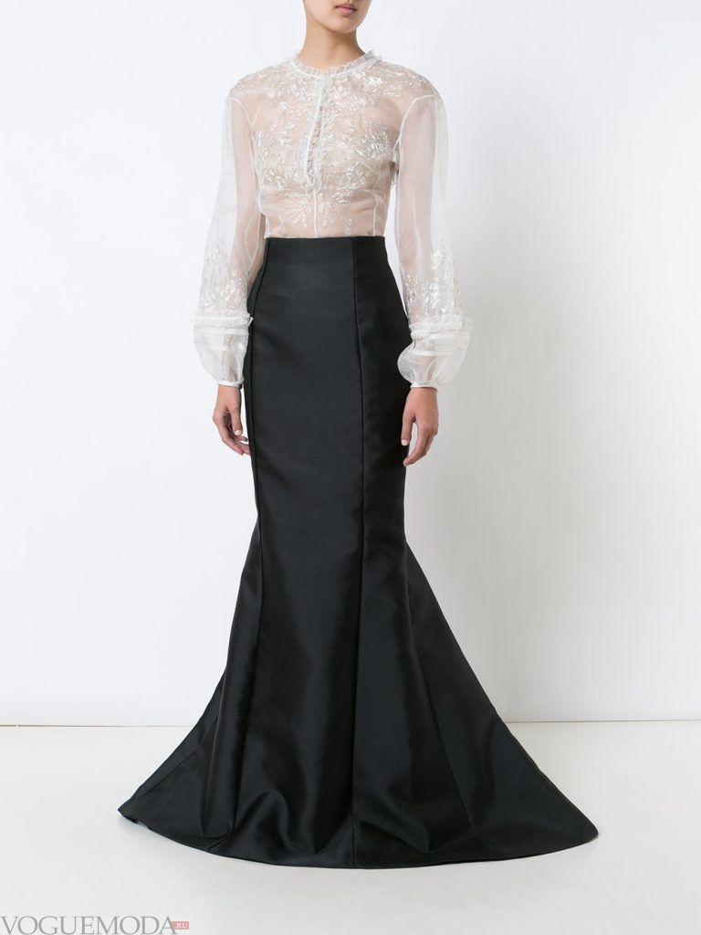 модная юбка со шлейфом