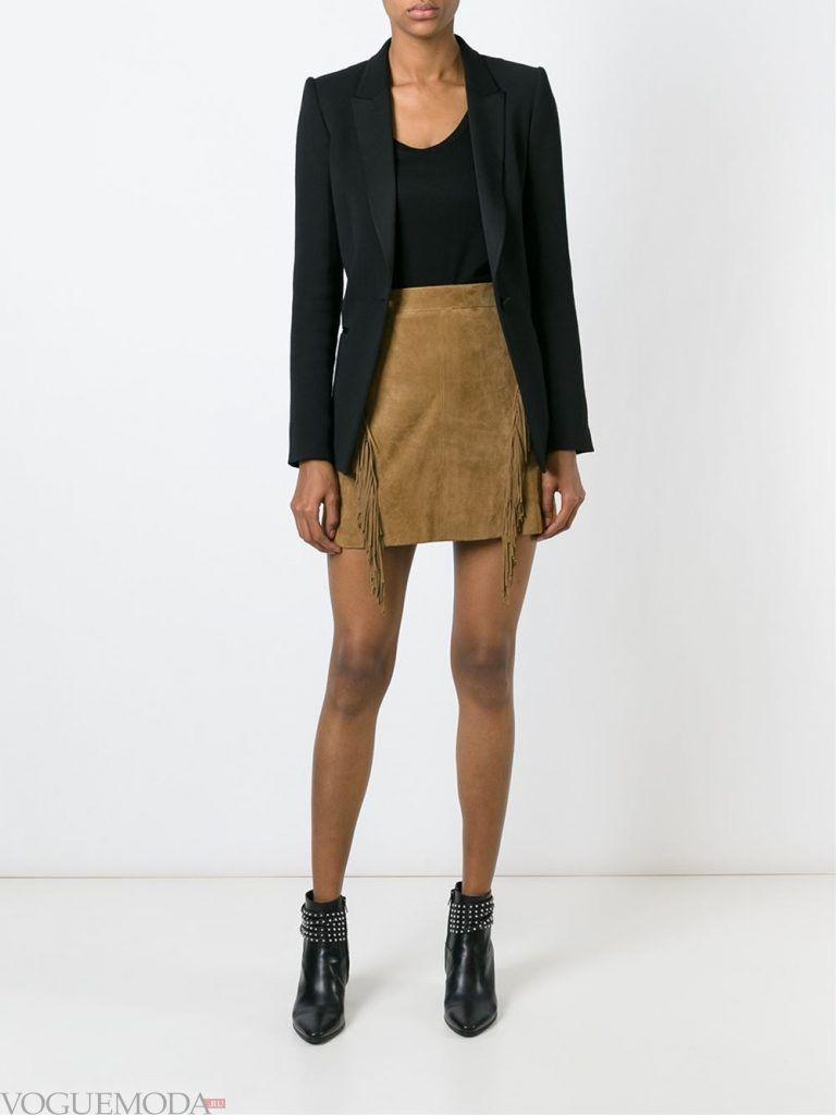 модная юбка замшевая
