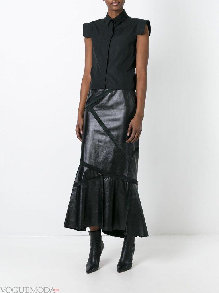 кожаная юбка с декором