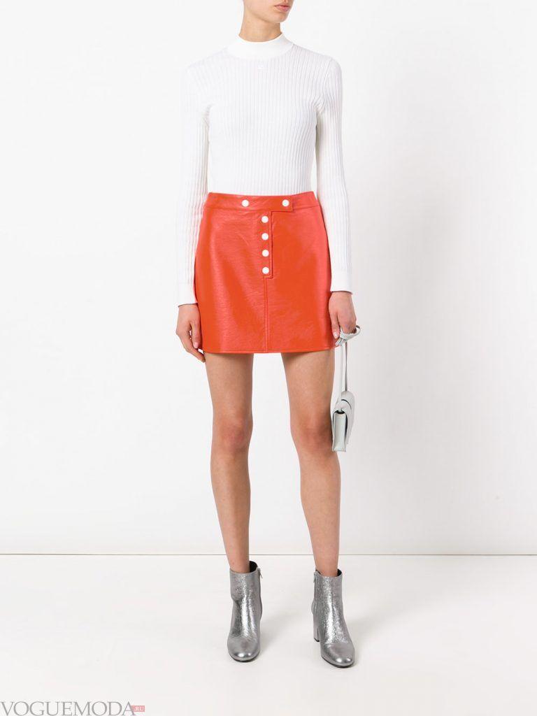 модная юбка оранжевая
