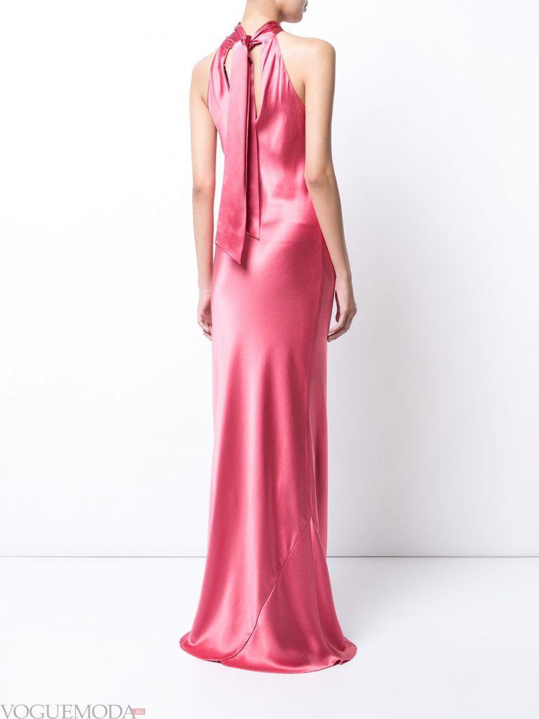 вечернее платье со шлейфом розовое