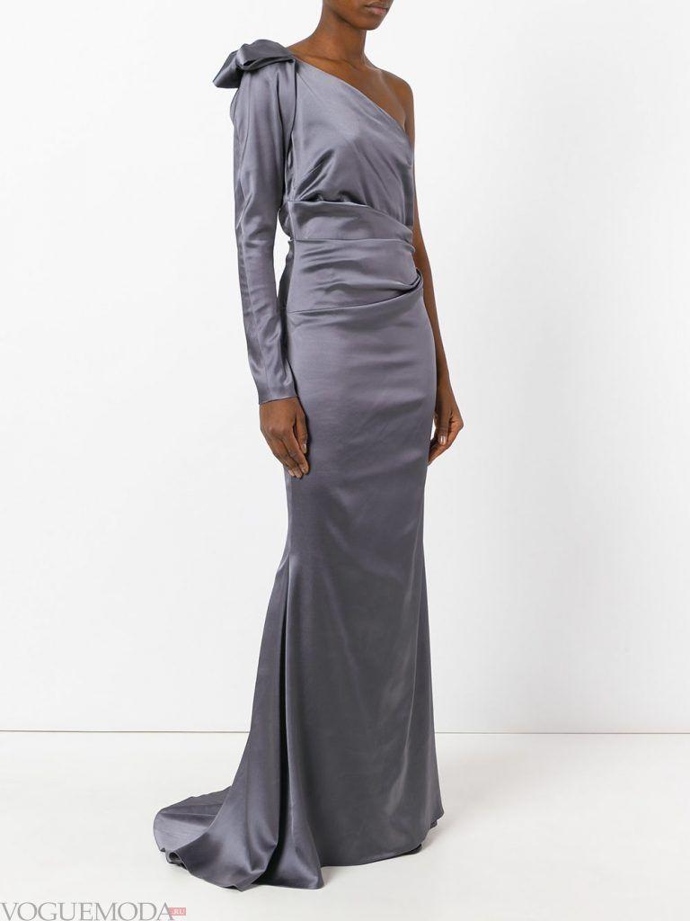 вечернее платье со шлейфом серое