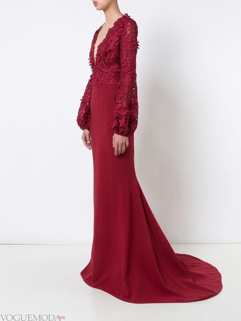 вечернее платье со шлейфом бордовое