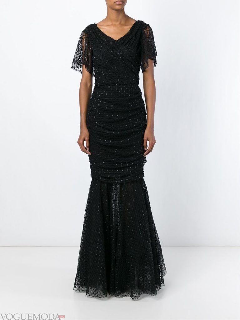 вечернее черное платье длинное