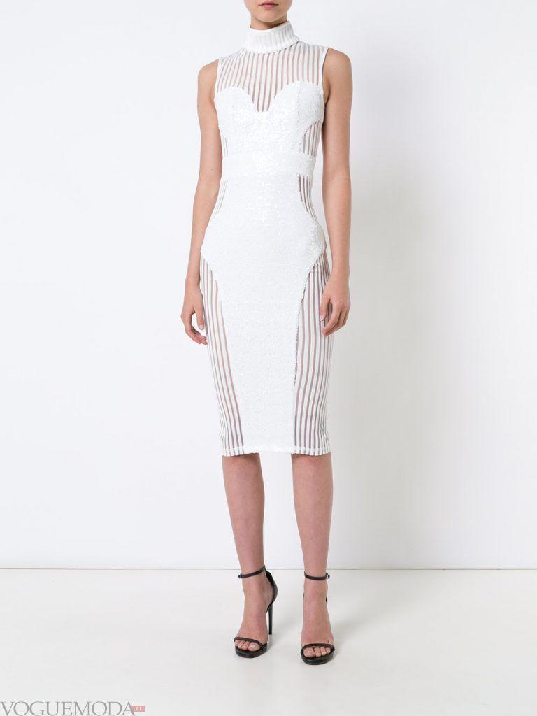 белое вечернее платье с вставками