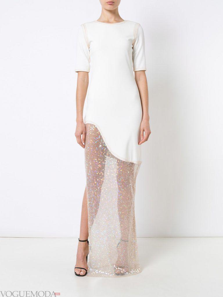 белое вечернее платье прозрачное