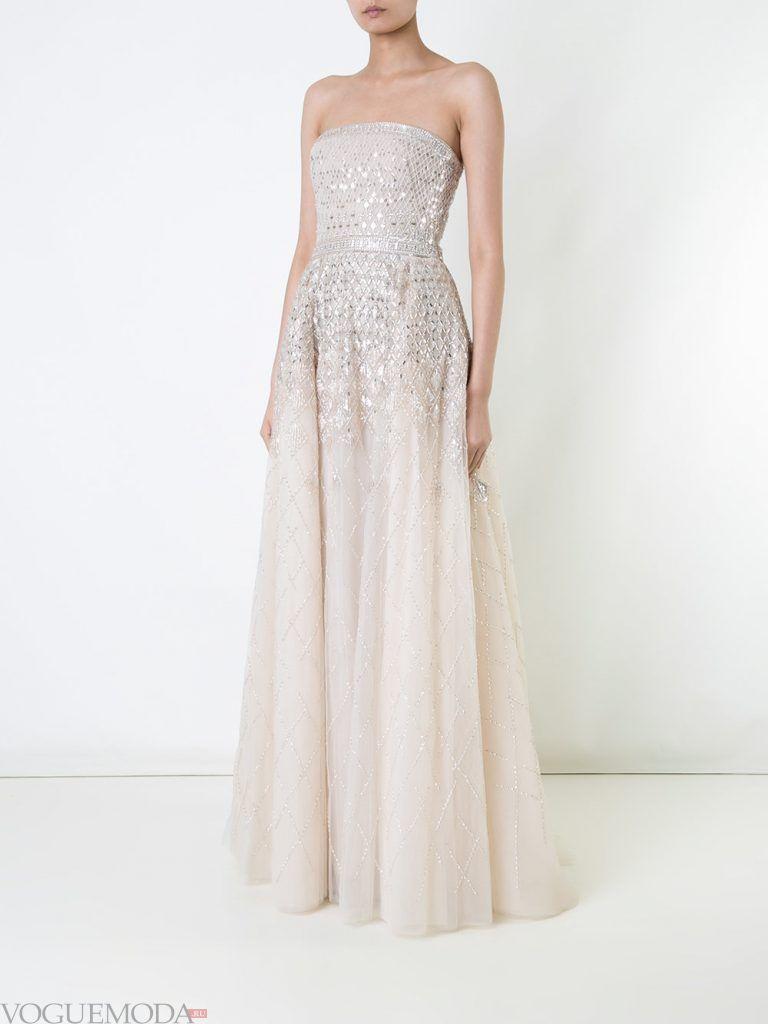 белое вечернее платье блестящее