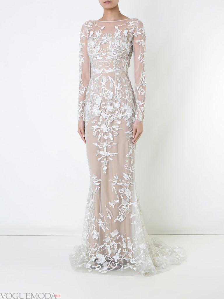 белое вечернее платье с орнаментом