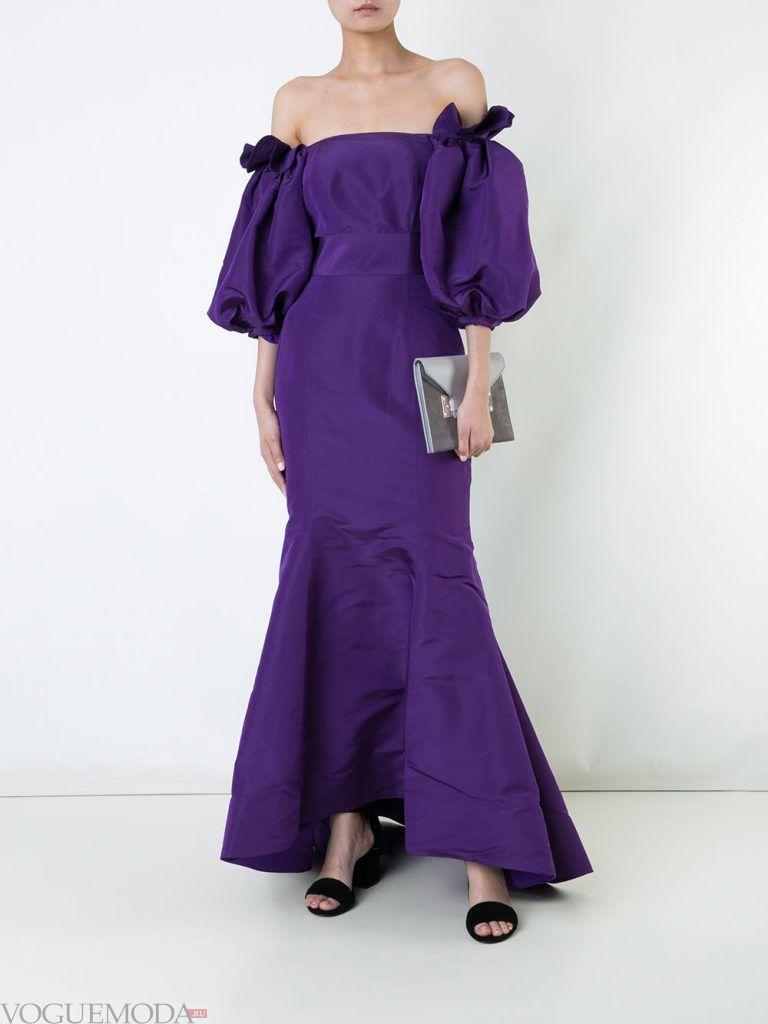 вечернее платье без бретелей фиолетовое
