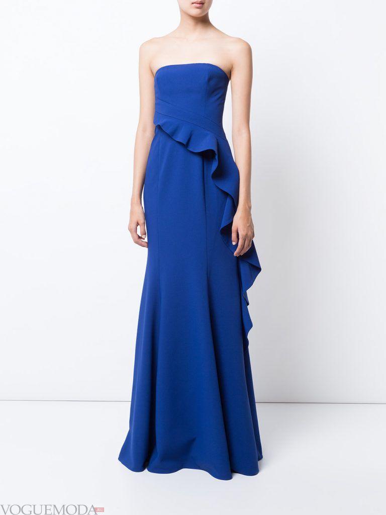 вечернее платье без бретелей синее